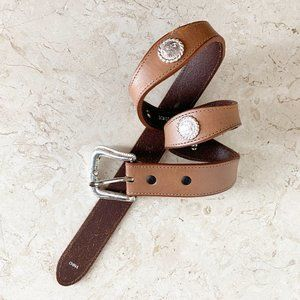 Nocona Brown Tan Leather Belt 28 Western Concho
